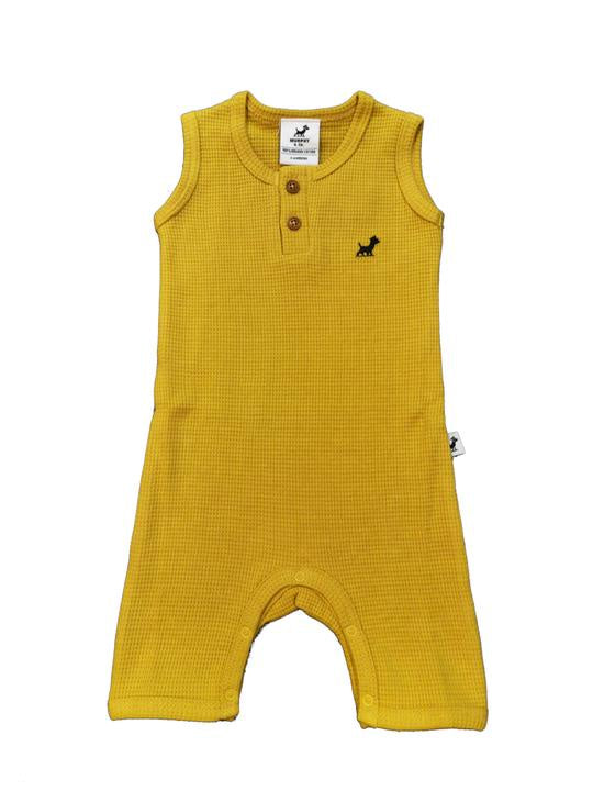 Waffle Organic Cotton Romper - Golden Nugget