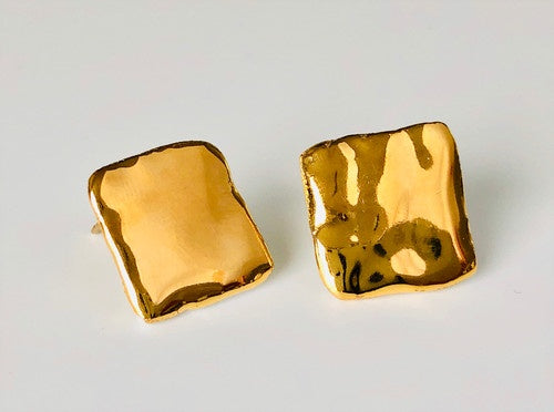 Porcelain and 24k Gold Studs - Medium Square