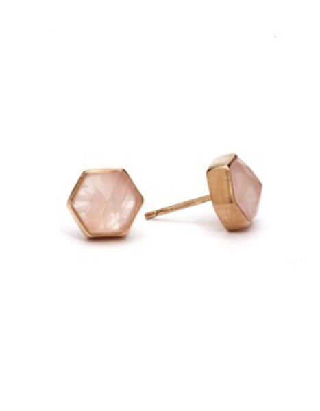 Six Reasons Studs - Gold & Rose Quartz