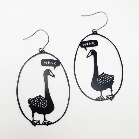 Honk the Swan Earrings - Black