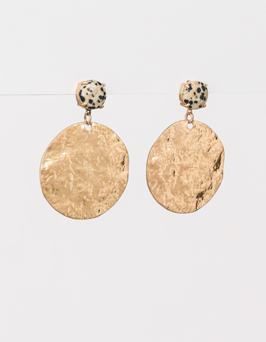 Gold Sphere with Speckle Stone Earrings