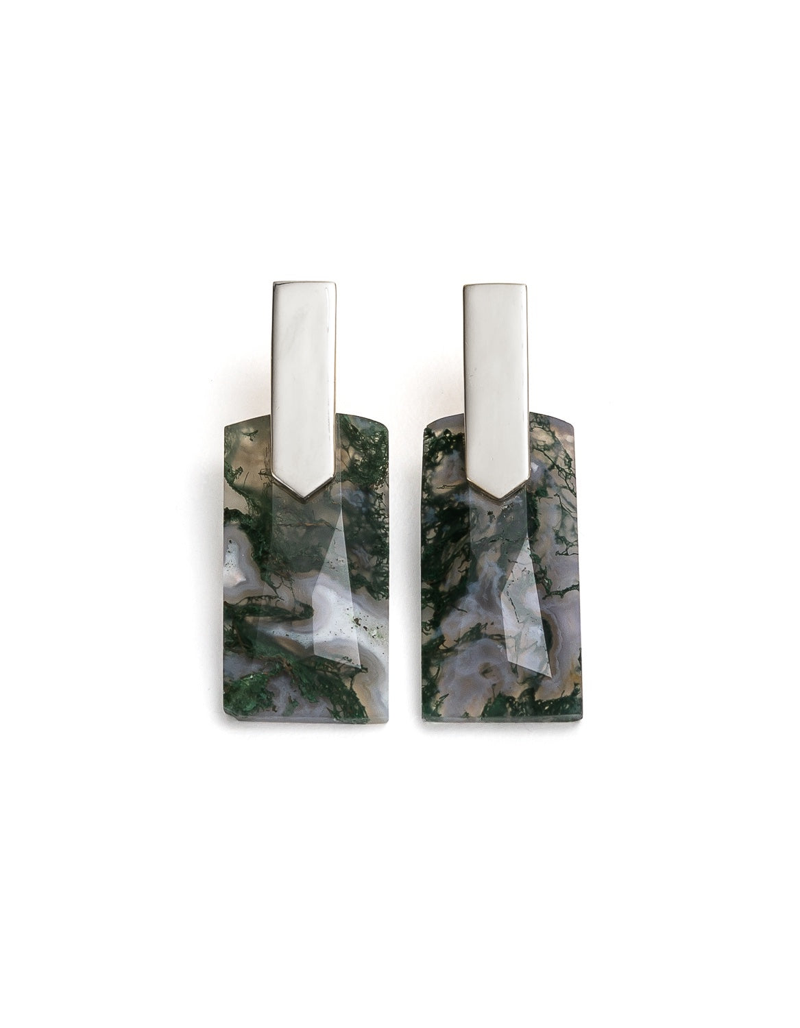 Fifth Symphony Long Gemstone Earrings - Silver & Moss Agate