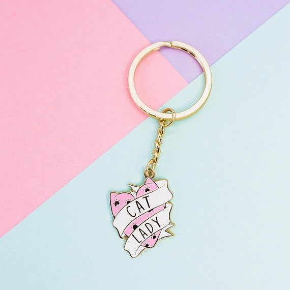 Cat lady Keyring