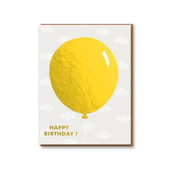 Big Gold Balloon Birthday Card