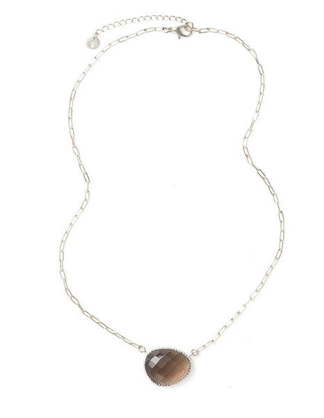 Curio Necklace - Silver & Smoky Quartz