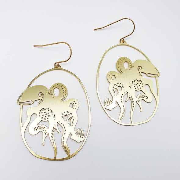 Kraken Earrings - Gold
