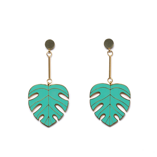 Metal Dangle Earrings - Monstera