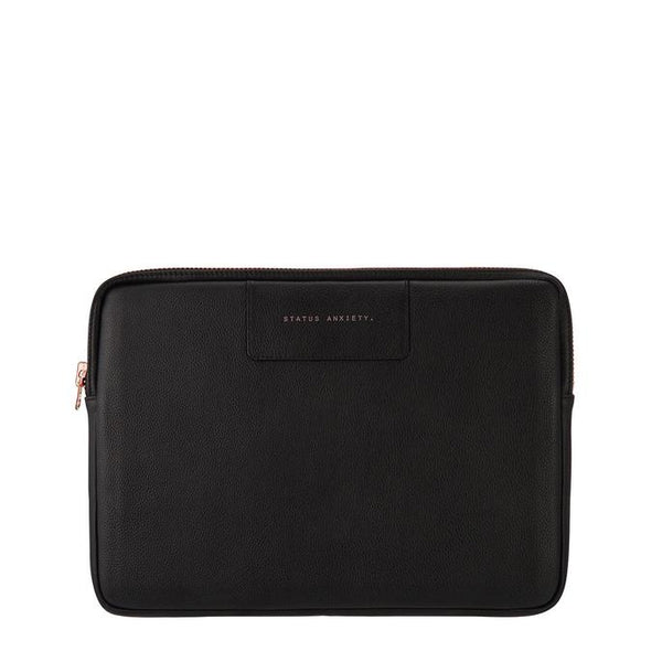 444eaf58a6 Before I Leave Laptop Case - Black and Rose Gold · Status Anxiety