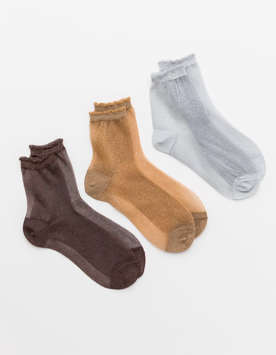 Sheer Sparkle Socks Set of 3 - Gold, Silver & Rust