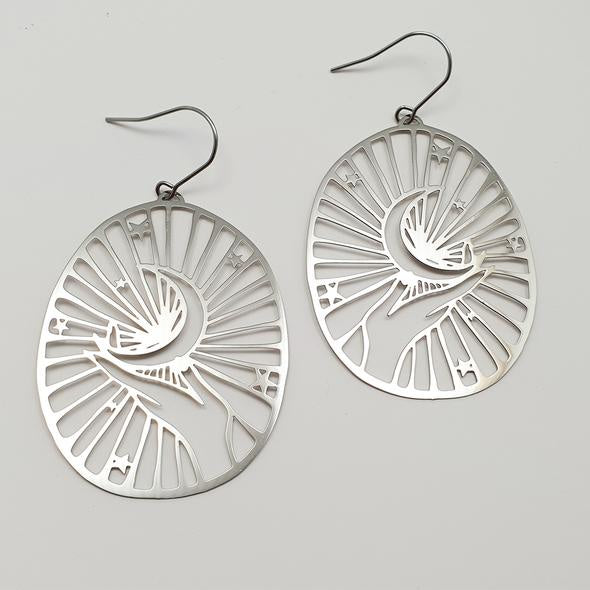 Crescent Moon Hand Earrings - Silver