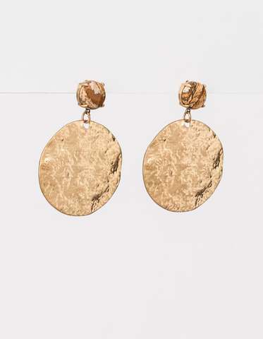 Gold Sphere with Natural Stone Earrings