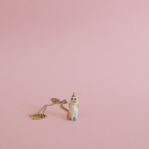 Tiny Porcelain Critter Necklace - Floppy Dog