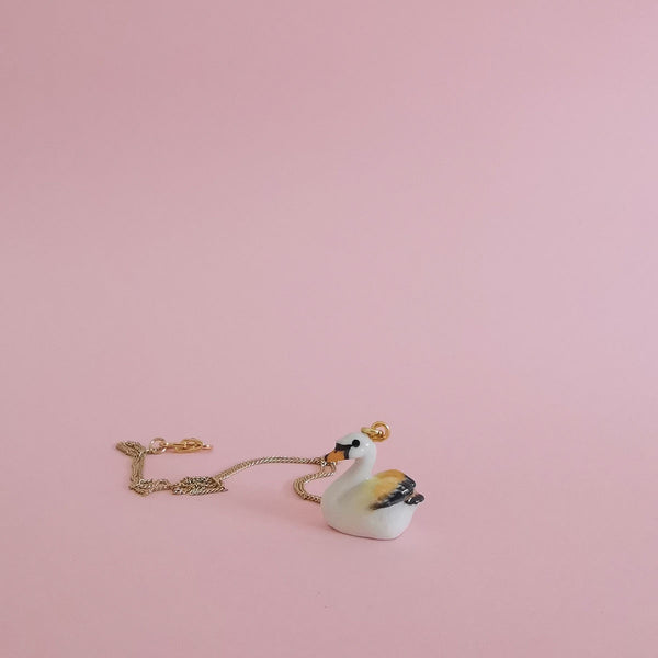 Tiny Porcelain Critter Necklace - Swan