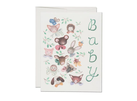 Pink Noses Baby Card