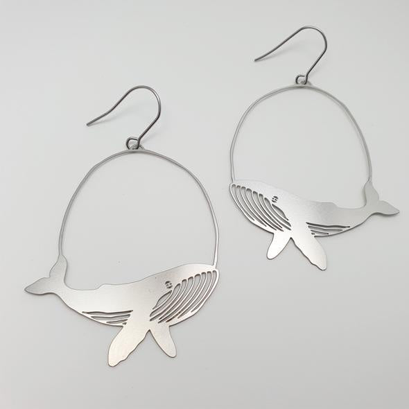 Whale Earrings - Silver
