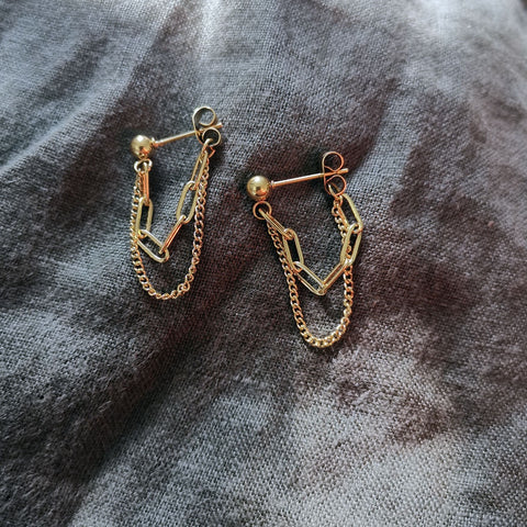 Chain Drop Earrings - Gold