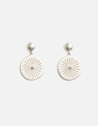 Ashoka Earrings - Silver and Diamond