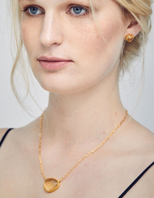 Curio Necklace - Gold & Citrine