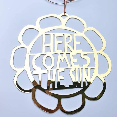 Here Comes The Sun Wall Hanging - Gold