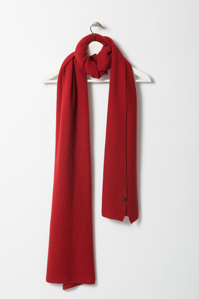 Garter Merino Scarf - True Red
