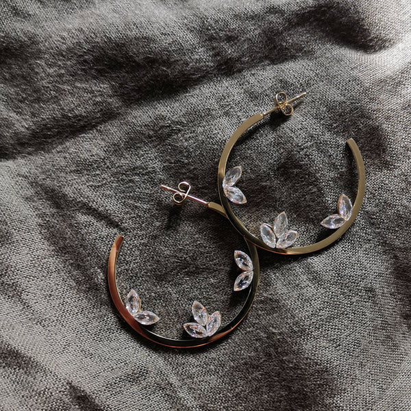 Stevie Crystal Hoop Earrings - Gold