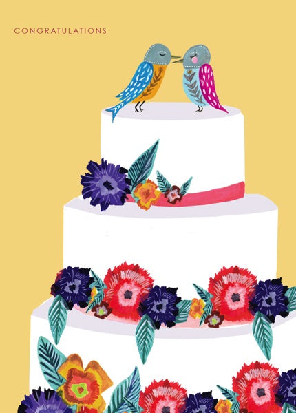 Bird Cake Wedding Card