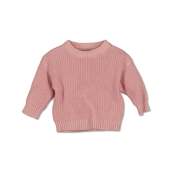 Slouch Knit Sweater - Tan Pink