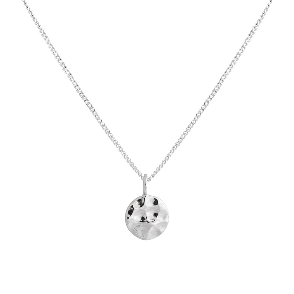 Charm Pendant Necklace - Silver Hammered Disc