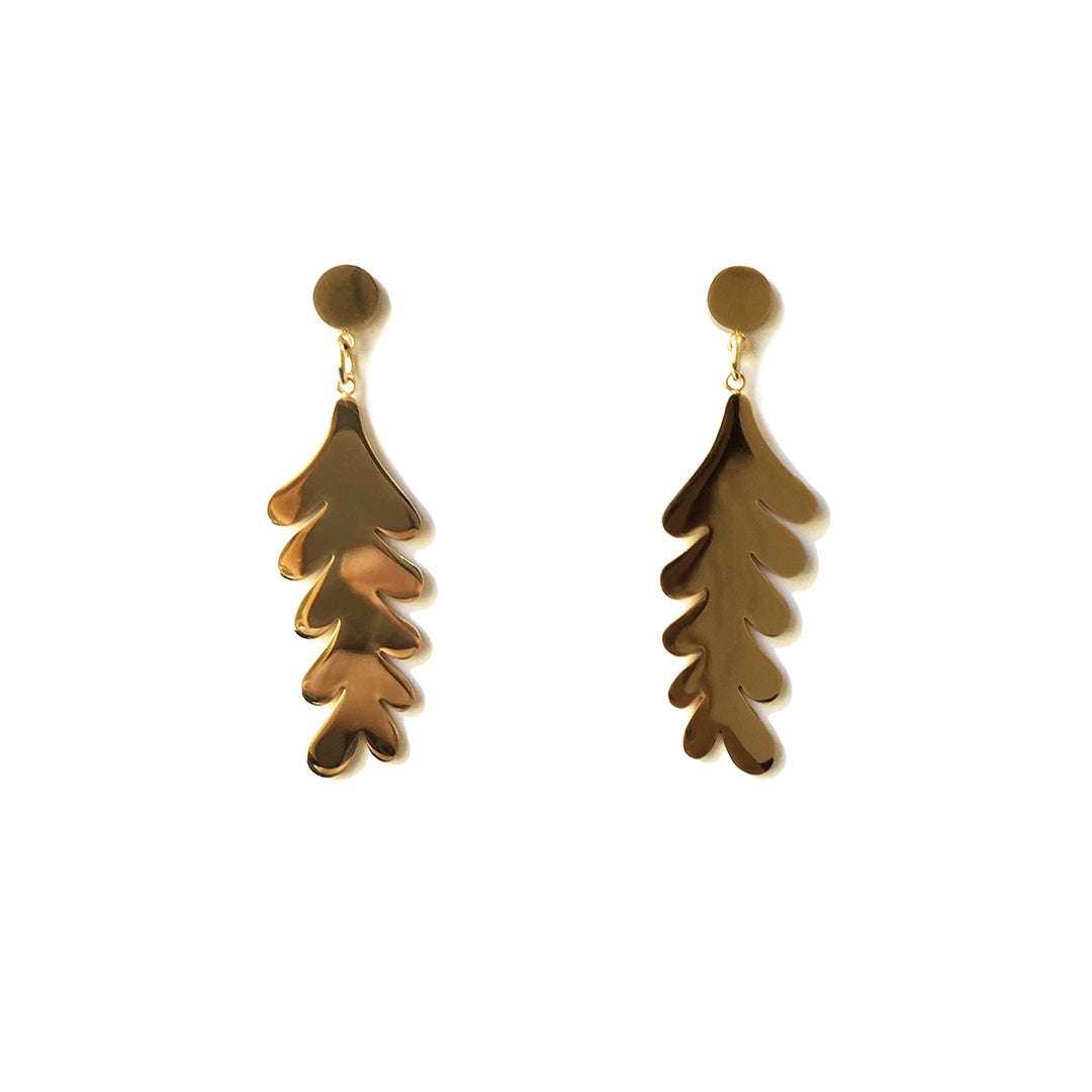 Metal Dangle Earrings - Gold Fern