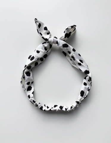 Headband Bunny - White & Black Cheetah