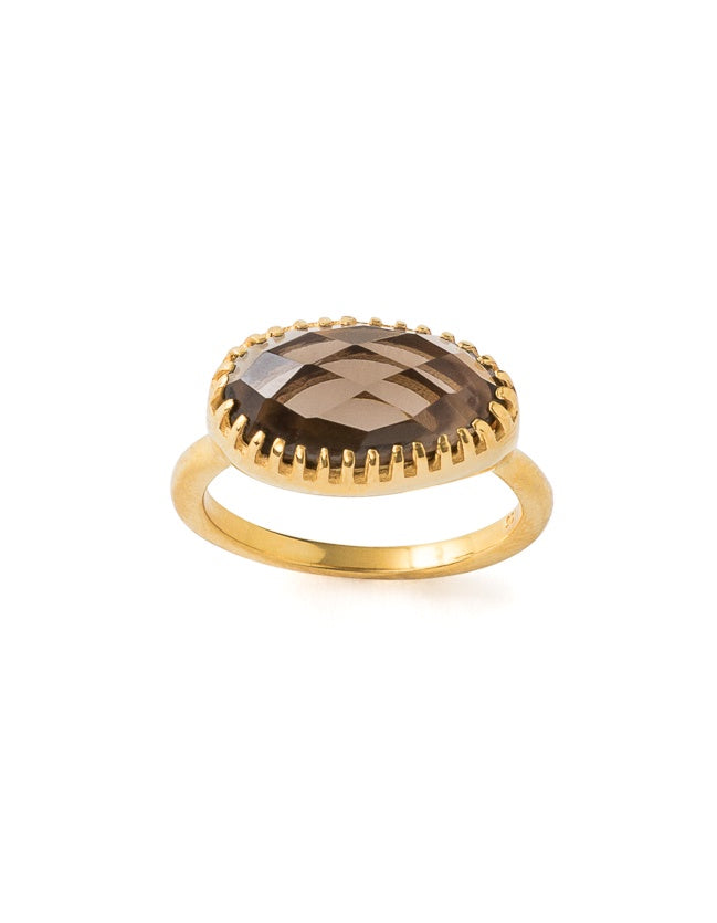 Curio Ring - Gold & Smoky Quartz