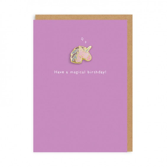Unicorn Enamel Pin And Birthday Card