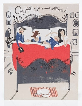Family Bed New Addition Baby Card