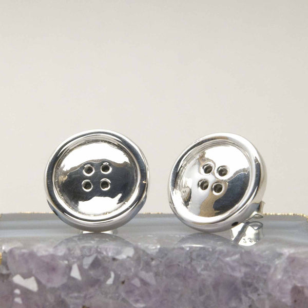 Sterling Cute as a Button Studs