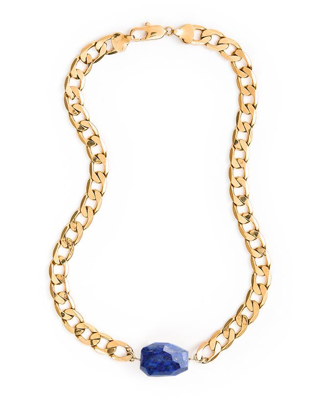 Chunky Chain Necklace - Gold & Lapis