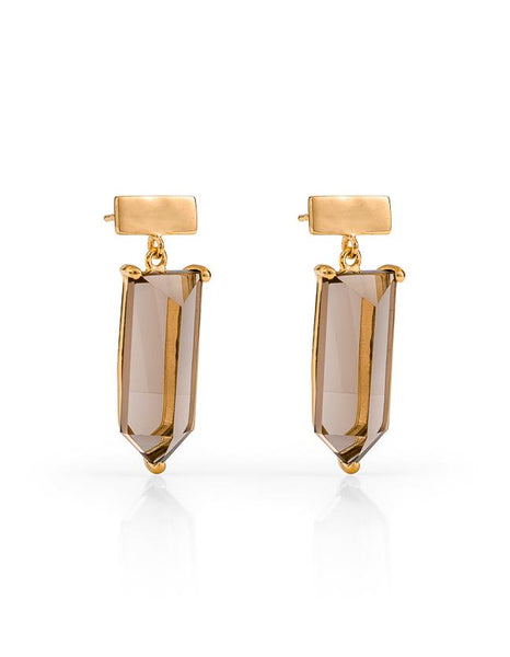 Amalfi Gemstone Drop Earrings - Gold & Smokey Quartz