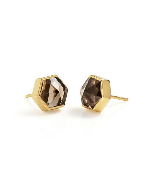 Six Reasons Studs - Gold & Smokey Quartz