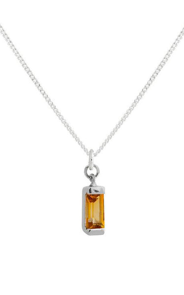 Charm Pendant Necklace - Citrine & Gold