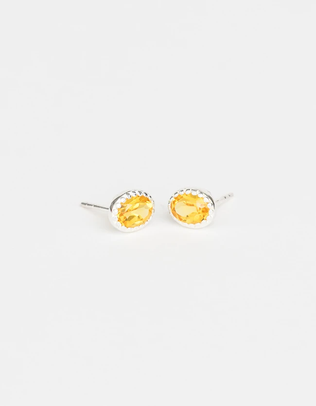 Lucent Stud Earrings - Saffron & Silver
