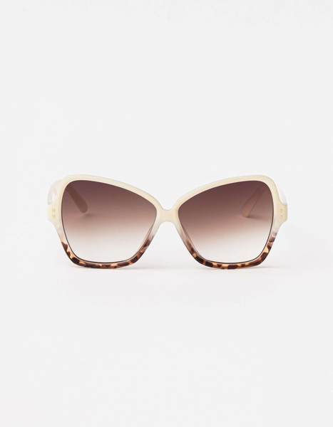 Papillon Sunglasses - Cream & Leopard