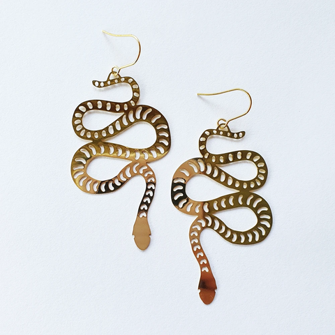 Snake Earrings - Gold
