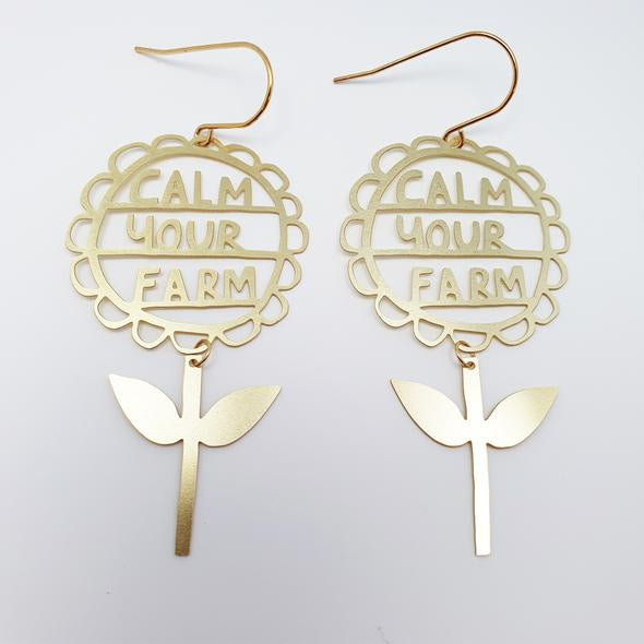 Calm your Farm Earrings - Gold