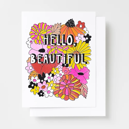 Hello Beautiful Floral Card