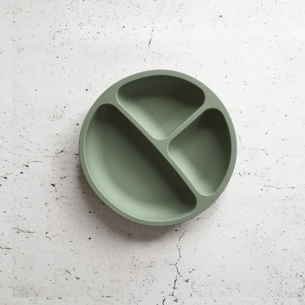 Silicone Divided Plate - Soft Moss