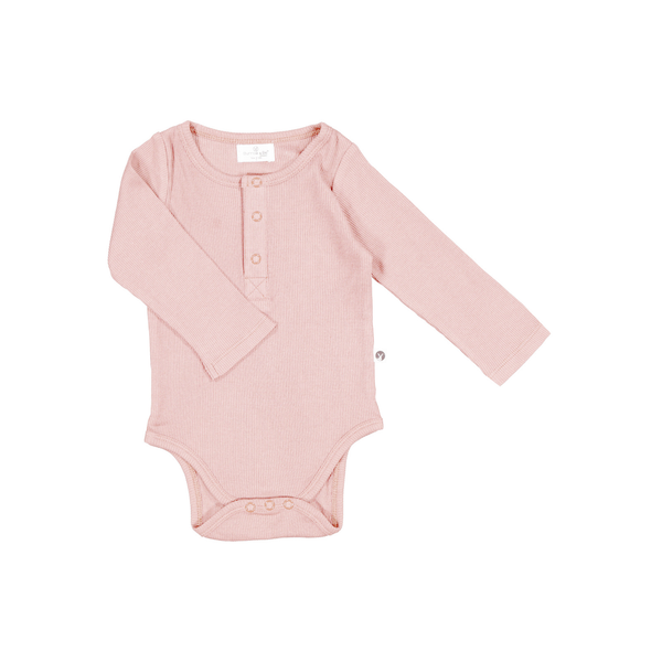 Henley Rib Bodysuit - Dusty Rose