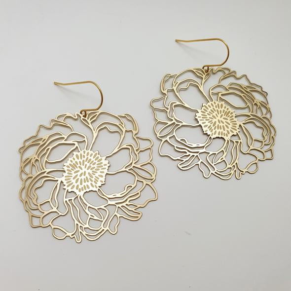 Peonies Earrings - Gold