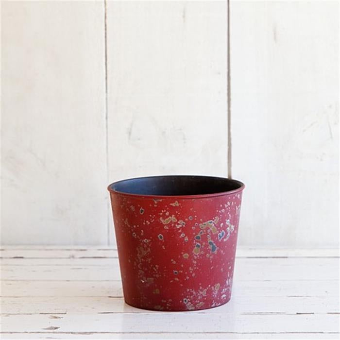 Weathered Look Planter 15.5cm - Red