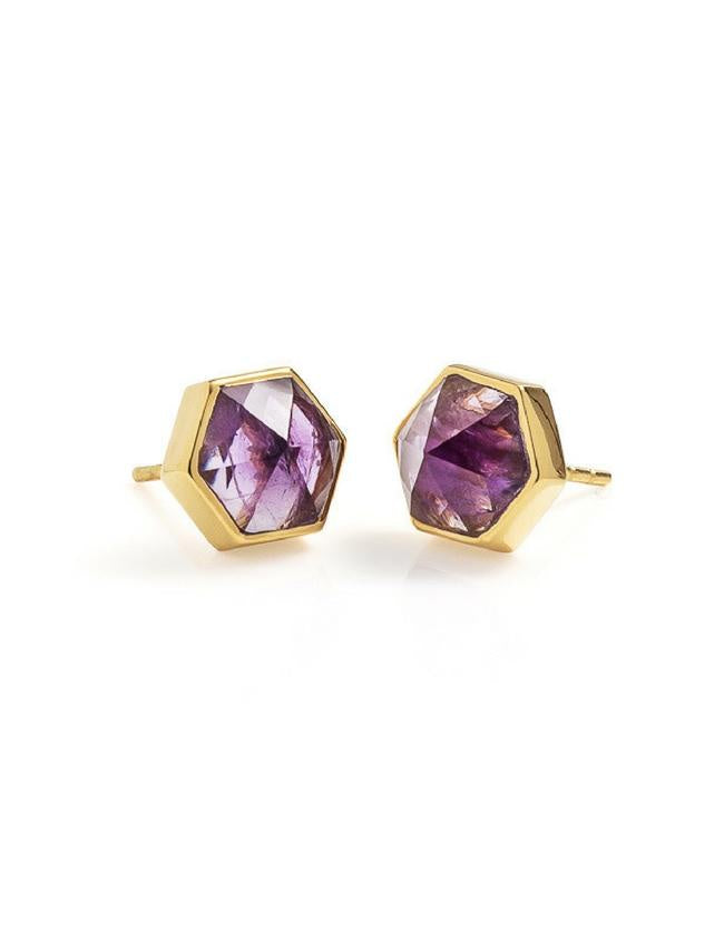Six Reasons Studs - Gold & Amethyst