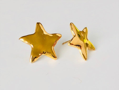 Porcelain and 24k Gold Studs - Stars