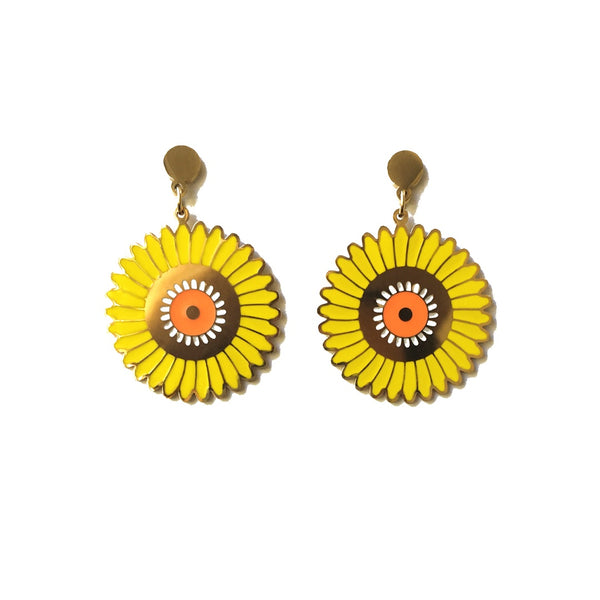 Metal Dangle Earrings - Yellow Sunflower